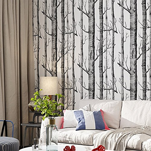- Blooming Wall:3d Birch Tree Wall Mural Wallpaper,20.8 In32.8 Ft=57 Sq Ft/Roll,Looks real up!Birch (Black/White)