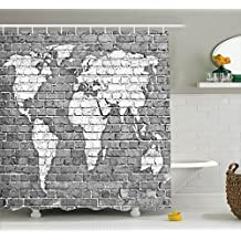 Wanderlust Decor Shower Curtain Set by Ambesonne, World Map On Old Brick Wall Construction Grunge Antique Stained Abstract, Bathroom Accessories, 69W X 70L Inches