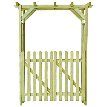Tidyard Wooden Arbour Rose Arch Garden Gate With Door Lock Garden Decor Impregnated Wood 150x50x200 Cm