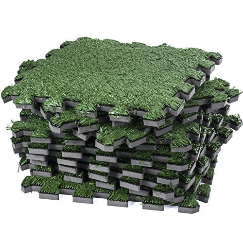 Dooboe Césped Artificial entrelazados baldosa – Césped Artificial Césped Carpet – Fake zacate Piso Mat- Soft Turf...