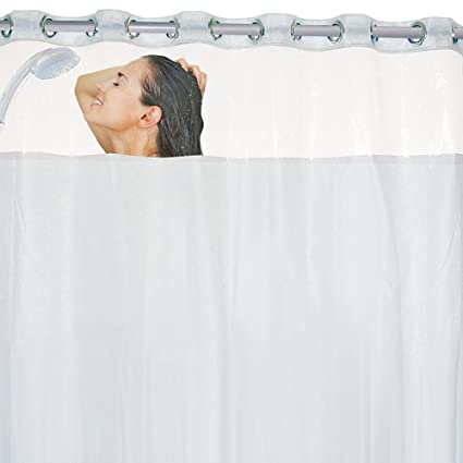 Jobar International Clear Top Frosted Bottom Plastic Shower Curtain With 8 Mesh Storage Pockets