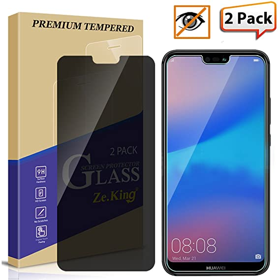 Zeking Anti-Glare Privacy Tempered Glass Screen Protector Compatible with  P20 Lite- 2 Pack