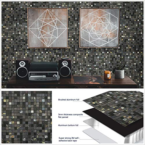 HomeyStyle Peel and Stick Tile Backsplash for Kitchen Wall Decor Aluminum Surface Metal Mosaic Tiles Sticker,Black Starry Sky Plaid Glass Mixed,12