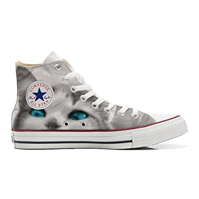 Converse All Star Customized with printed Italian style (handmade shoes)  White cat with blue eyes - size 45 EU  Amazon.co.uk  Shoes   Bags 471827c00