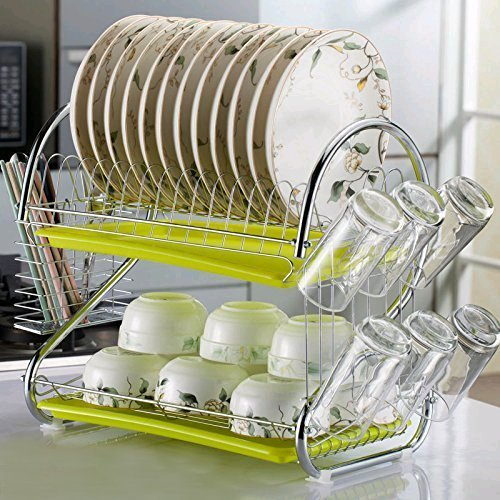 GOTOTOP Scolapiatti Colapiatti a 2 piani con Vassoio Removibile,in acciaio inossidabile,per piatti, stoviglie e bicchieri, vassoio salvagoccia rimovibile