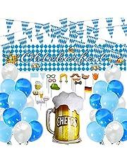 Oktoberfest decoratie, Oktoberfest foto rekwisiet banner, Oktoberfest party decoratieset, 30 stuks Oktoberfest ballonnen wit en blauw, 20 m Oktoberfest wimpel