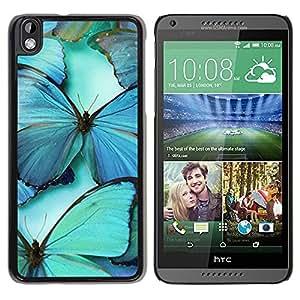 Be Good Phone Accessory // Dura Cáscara cubierta Protectora Caso Carcasa Funda de Protección para HTC DESIRE 816 // Teal Blue Nature Insect Wing