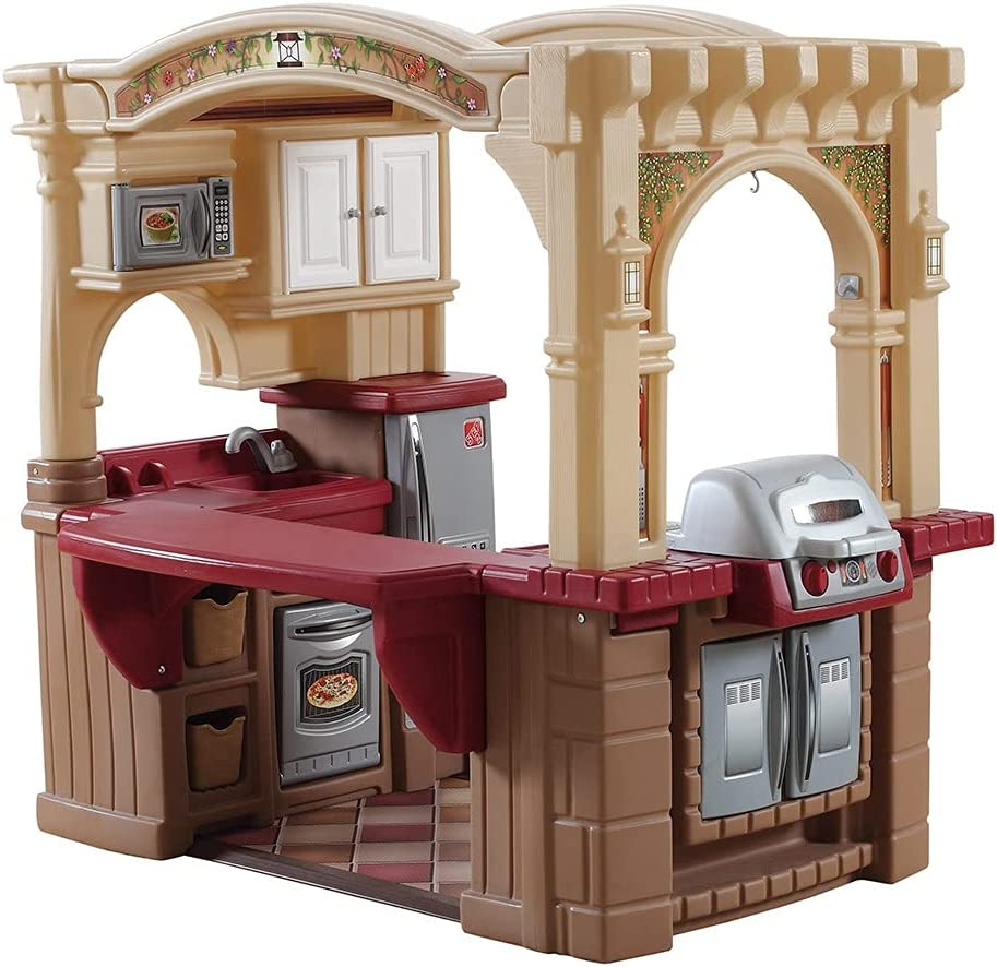 Step2 Grand Walk-In Kitchen & Grill  - Play Kitchen with 103-Pc Play Accessories Set