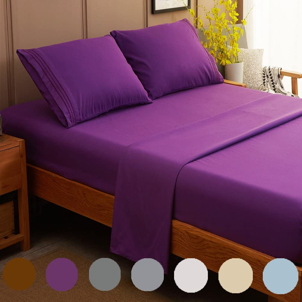 SONORO KATE Bed Sheet Set Super Soft Microfiber 1800 Thread Count Luxury Egyptian Sheets Fit 18-24 Inch Deep Pocket Mattress Wrinkle and Hypoallergenic-4 Piece (Purple, Queen)