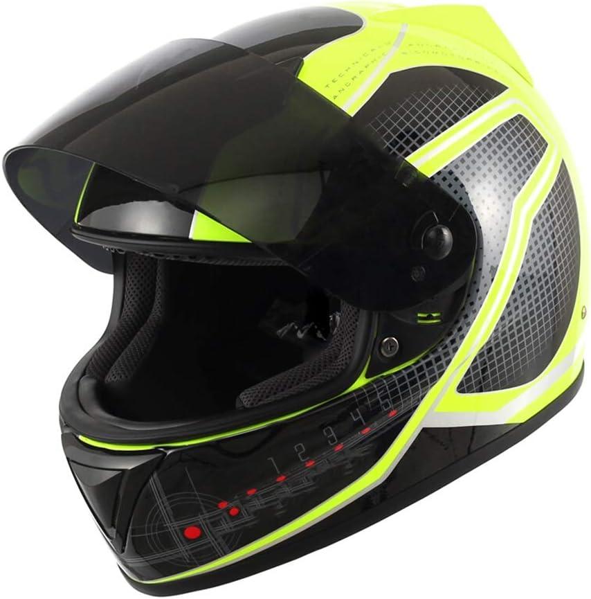GWM ヘルメットメンズオートバイ四季ユニバーサル、ヘルメットフルカバー冬の人格クールフルヘルメット保護キャップは、ハーフヘルメット、日の日の保護の夜のアンチグレアを行うことができますフルフェイスのヘルメットを行うことができます (サイズ さいず : XXL)  XX-Large