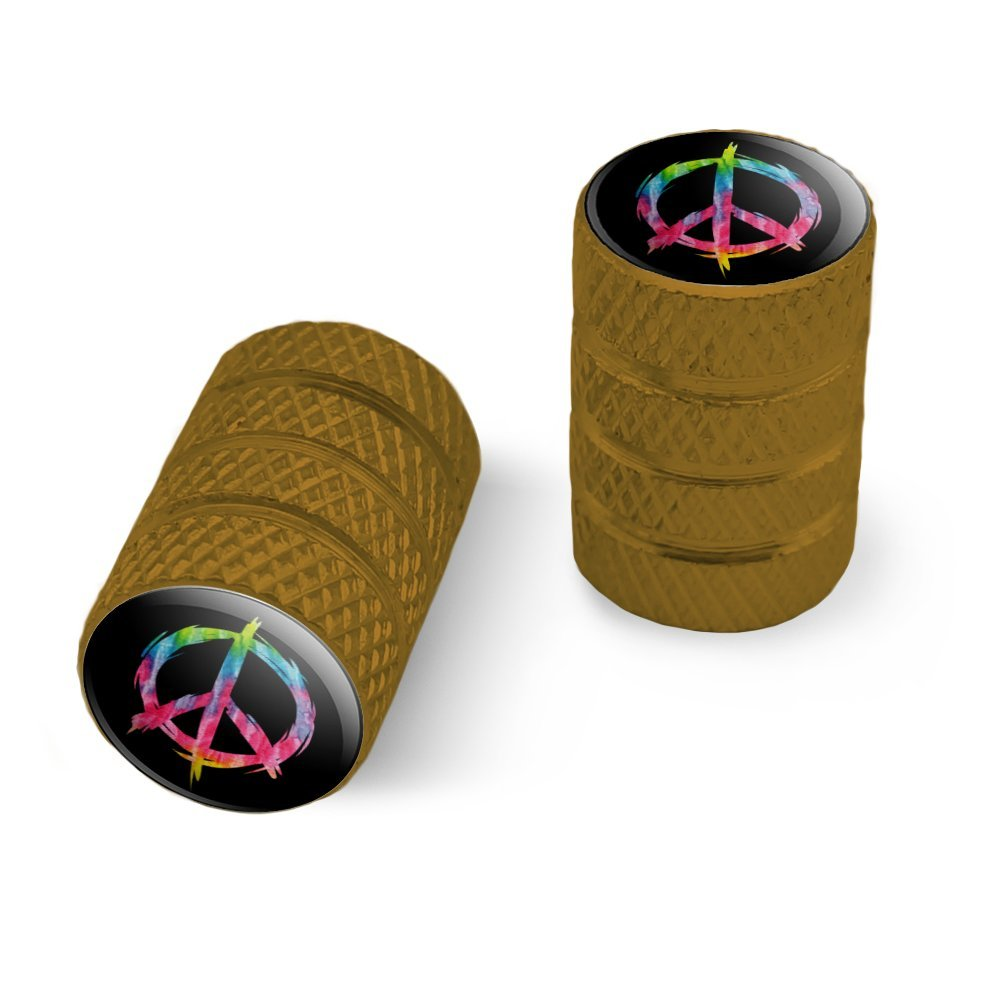 Graphics and More Tie Dye Peace Sign Motorcycle Bicycle Bike Tire Rim Wheel Aluminum Valve Stem Caps