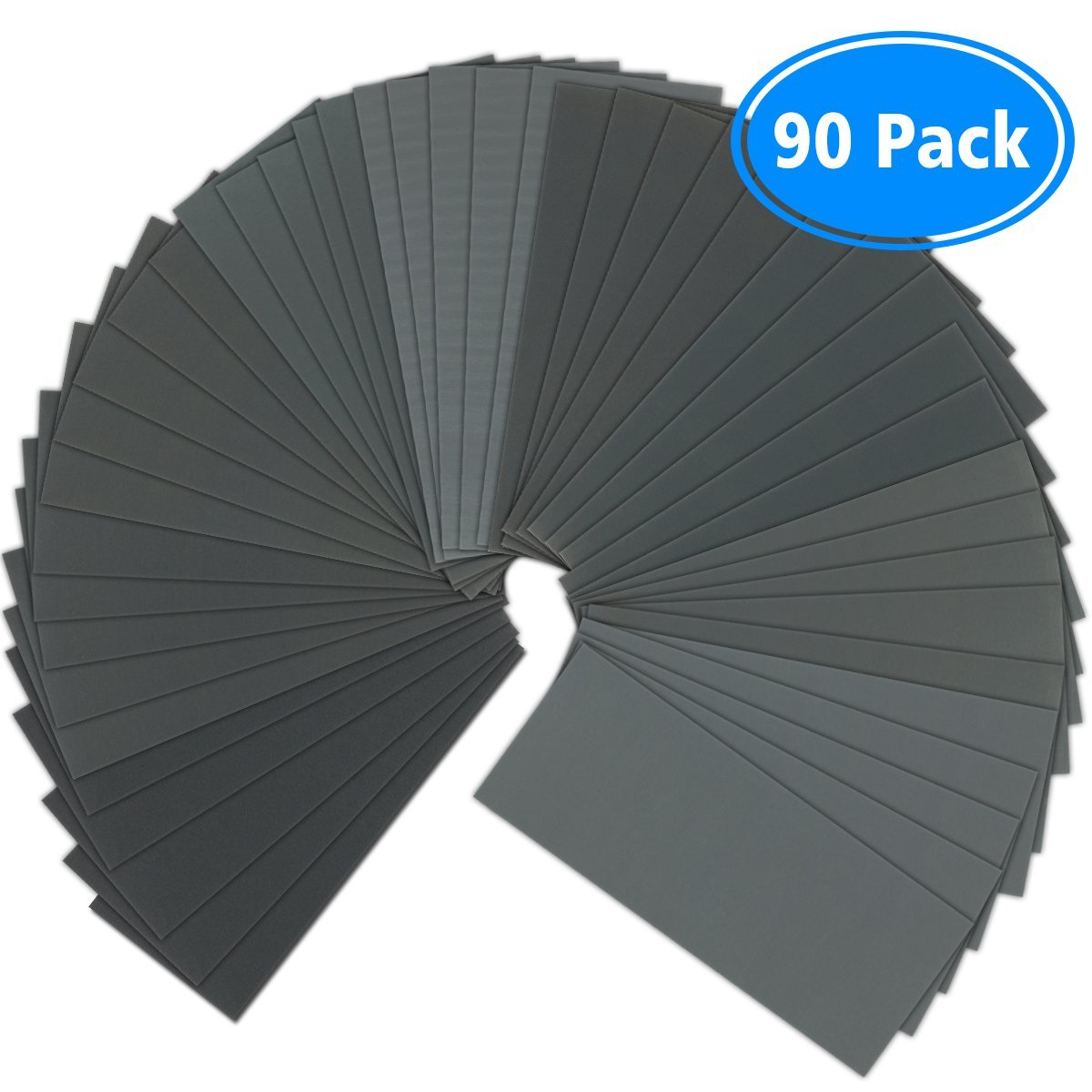 Sandpaper, 90 Pcs 400 to 3000 Grit Wet Dry Sandpaper Assortment 9x3.6 Inch for Automotive Sanding - Wood Furniture Finishing - Wood Turing Finishing and More by VERONES
