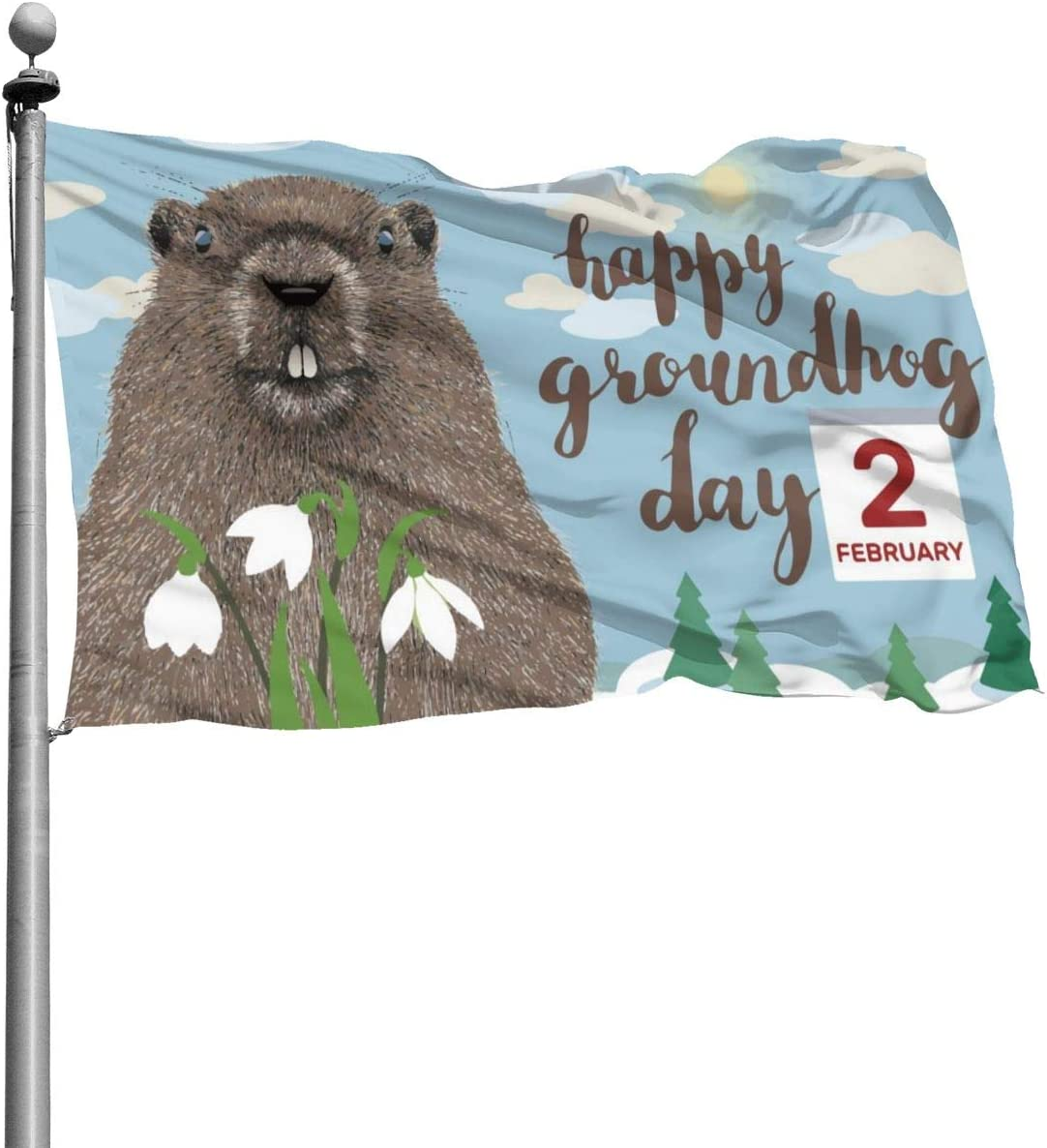 THONFIRE American Guard Flag Banner Home Flags Happy Groundhogs Day Durable Front Yard for UV Protect Patio College Decorative 4x6 Foot