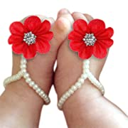 DZT1968 Baby Girl Pearl Chiffon Foot Flower Shoes Barefoot Sandals (Watermelon Red)