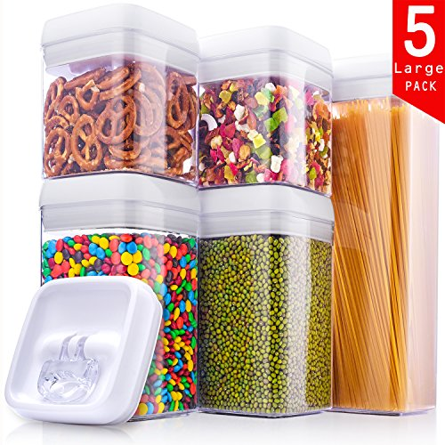 ME.FAN Large Air-Tight Food Storage Container Set - 5-Piece Set -Large Durable Seal Pot - Cereal Storage Containers - For Dry Foods & Liquids - BPA Free - Clear Containers with White Lids Clear Acrylic T-square