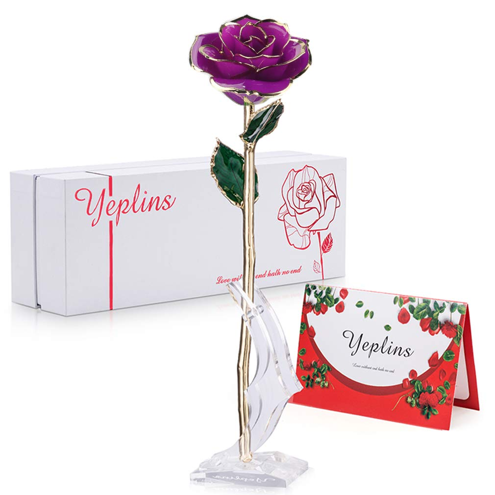 SinJyun 24K Gold Rose Foil Everlasting Rose Blue Birthday Gifts for Mum Ornaments
