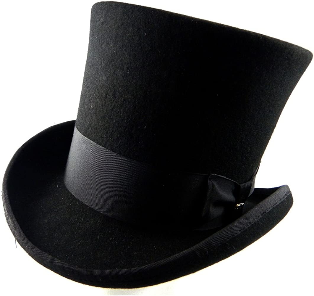 735fd0649 Victorian Classico Scala Mad Hatter 100% Wool Top Hat Black LARGE
