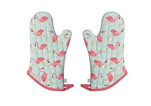 Now Designs Basic Oven Mitt, Flamingos - 6.5 x 13 in | Set of 2