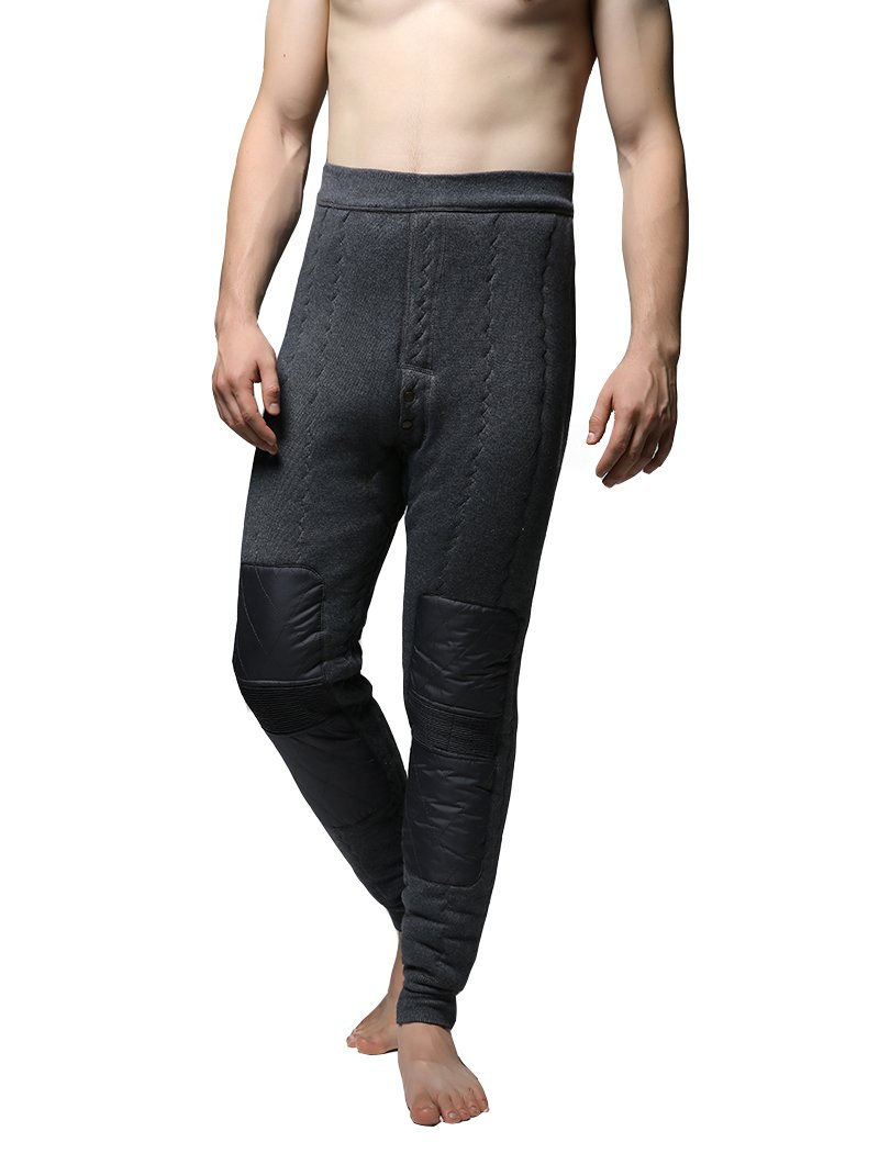 Jianai Men's Heavy-Weight Four-Layer Thermal Underwear Bottoms Pants (Large, Gray)