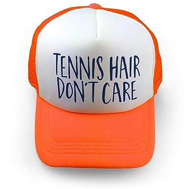 6edfb281 Tennis Hair Don't Care Trucker Hat   Tennis Hats by ChalkTalkSPORTS   Neon  Orange
