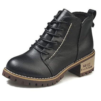 JUNMAONO Botas para Mujer, Zapatos Altos Talones De Tacón, Cortas Botas Martin, Hombre