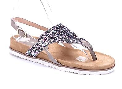 Schuhtempel24 Damen Schuhe Zehentrenner Sandalen Sandaletten Khaki flach  Glitzer f8acb2d205
