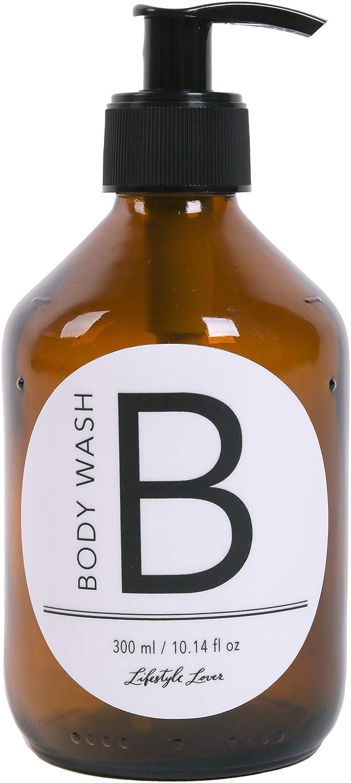 Lifestyle Lover - Dispensadores de jabón de cristal marrón, color ámbar, para jabón, fregadero, champú o lociones, plástico vidrio, Body Wash 'B' 300 ml.