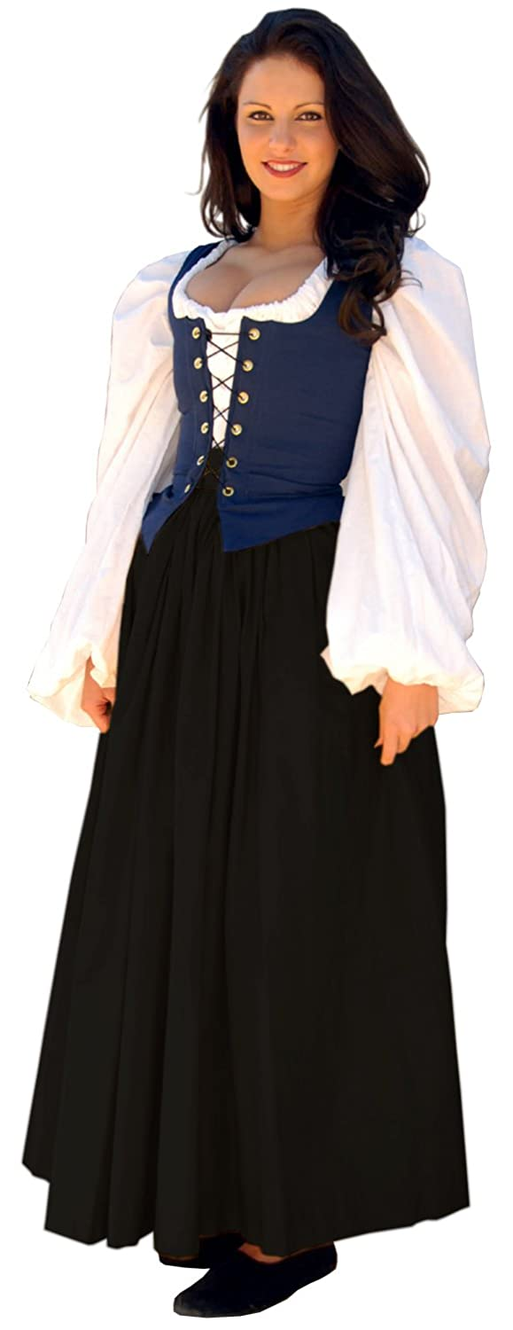 Renaissance Gathered Soft Cotton Black Skirt (Plus Size) by Sofi's Stitches - DeluxeAdultCostumes.com