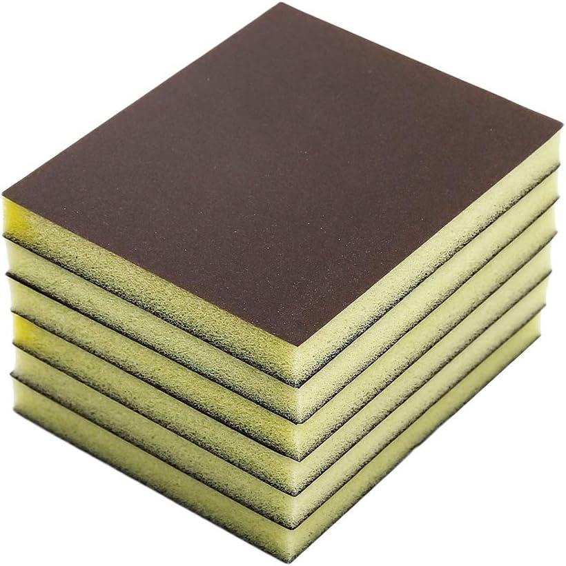 Cyful 220# Grit Sponge Emery Cloth Sandpaper Blocks Buffing Diamond Polishing Pads Hand Sanding Tool-6pcs