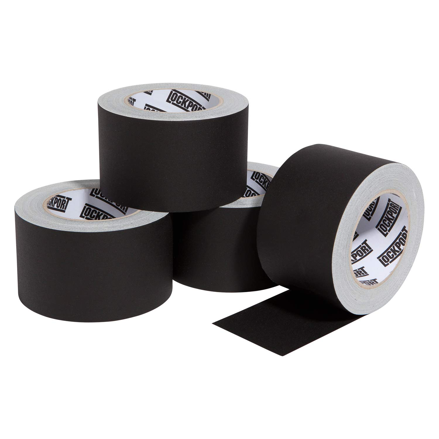 3 Inch Black Gaffers Tape - 4 Roll Multi Pack - 30 Yards per Roll - Easy Tear, Non Residue Gaff Tape - Waterproof Matte Cloth Gaffing Tape for Professional Photography, Filming, Stage Use