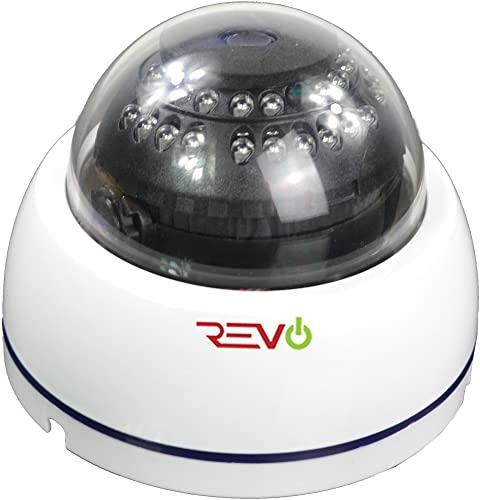 REVO America Aero HD 1080p Indoor IR Dome Camera with 3.6mm Fixed Lens – 60 BNC Cable Included