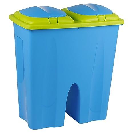 Eliminación de plástico de colores doble de basura reciclaje ...