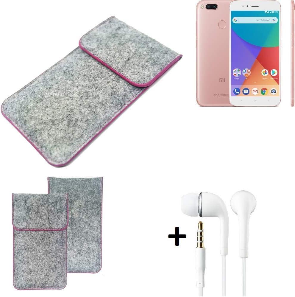 K-S-Trade® Funda Protectora De Fieltro para Xiaomi Mi A1 Estuche Bolsa Bolsillo Carcasa Cubierta Gris Oscuro Borde Rojo + Auriculares: Amazon.es: Electrónica