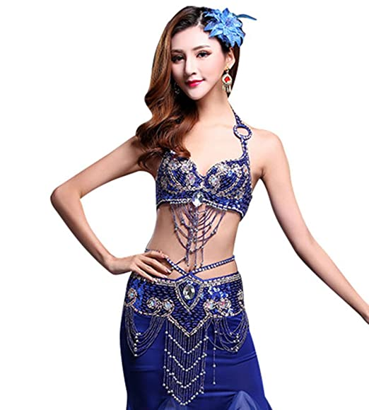 deb27e2cd4b69 YiJee Women Belly Dance Bra Set Side Split Indian Dance Lotus Leaf Edge  Skirt  Amazon.co.uk  Clothing