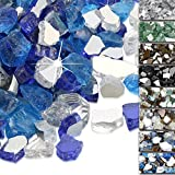 QuliMetal 1/2 Inch Fire Glass, Fire Glass Blended High Luster Reflective Tempered Glass Rocks for Indoor Outdoor Fireplaces,