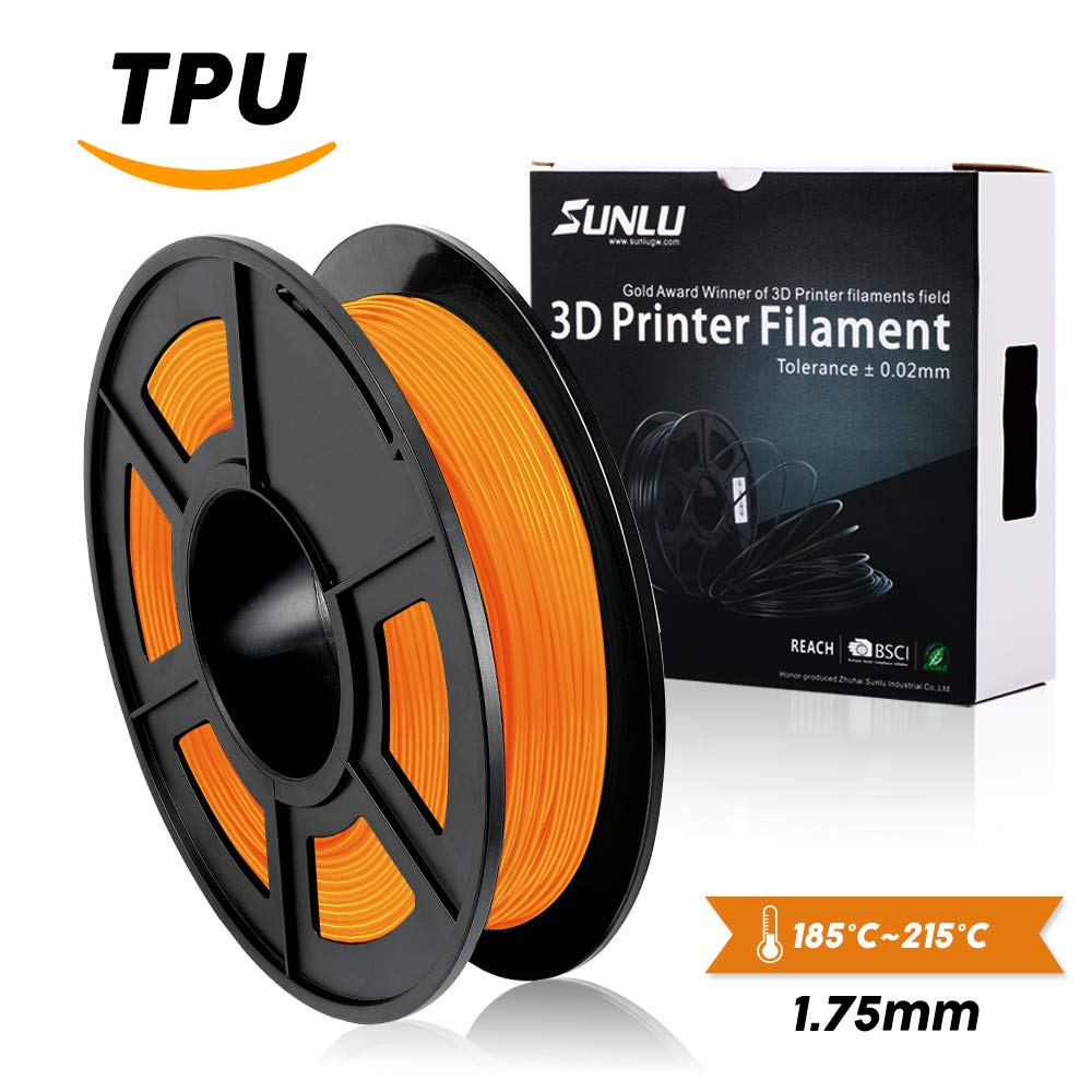 SUNLU 1.75mm Flexible TPU 3D Printing Filament, Dimensional Accuracy +/- 0.02 mm, 0.5KG Spool, 1.75 mm, Black SUNLUGW