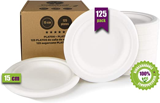 GoBeTree 125 Platos Desechables biodegradables de Papel de caña de ...