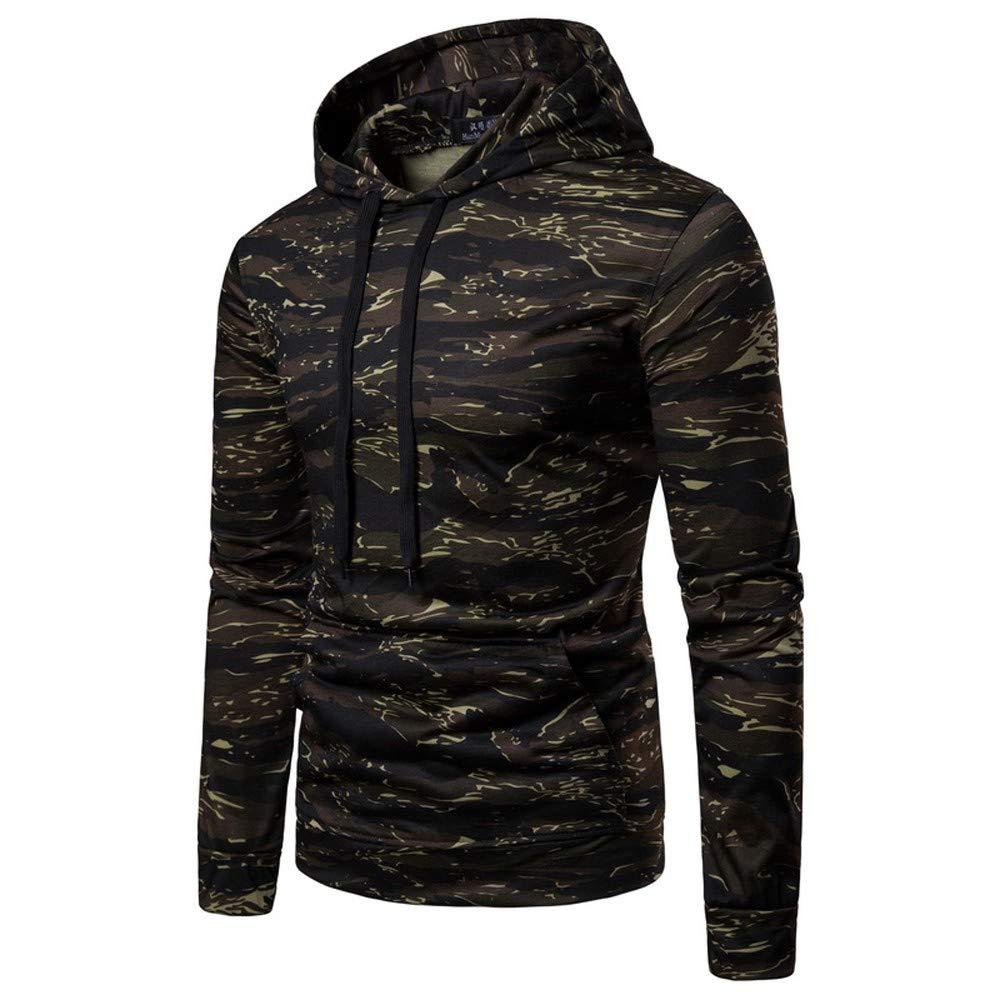 Mens Autumn Casual Camouflage Long Sleeve Pullover Sweatshirt Hoodie Coat Top