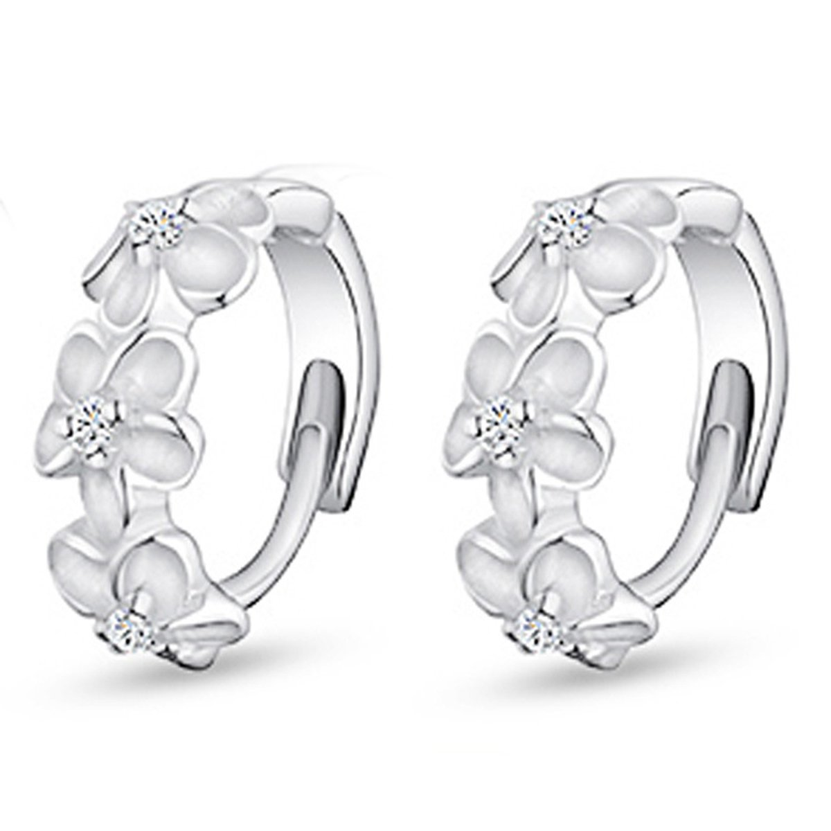 Feraco Jewelry Tiny Hoop Huggie Silver Flower Stainless Steel Crystal Sparkling Charms Earrings Set USA1705002
