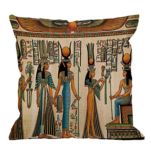 HGOD DESIGNS Egyptian Decorative Throw Pillow Cover Case,Papyrus Queen Nefertari Cotton Linen Outdoor Pillow cases Square Standard Cushion Covers For Sofa Couch Bed 18x18 inch Brown
