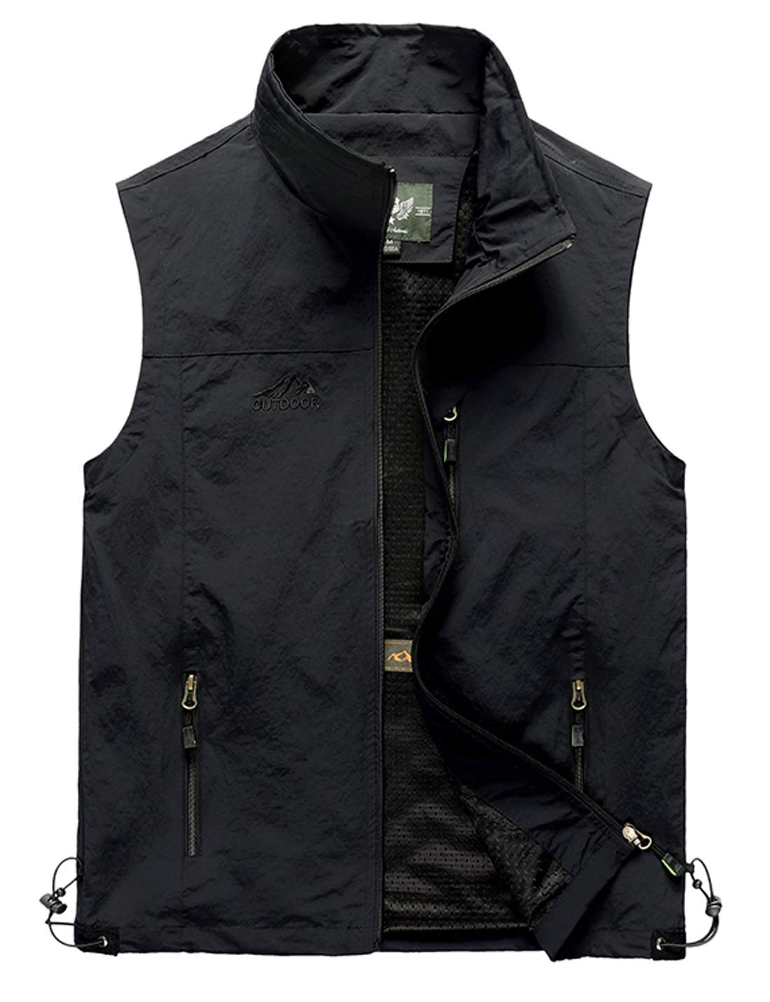 Gihuo Men's Casual Outdoor Lightweight Quick Dry Travel Vest Outerwear (Black, X-Large) by Gihuo
