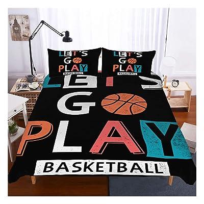 Basketball Bedding Set Full Size,3D Sports Basketball Duvet Cover Set 3 Piece (1 Duvet Cover 2 Pillowcases) Basketball Bedspread for Kids: Home & Kitchen