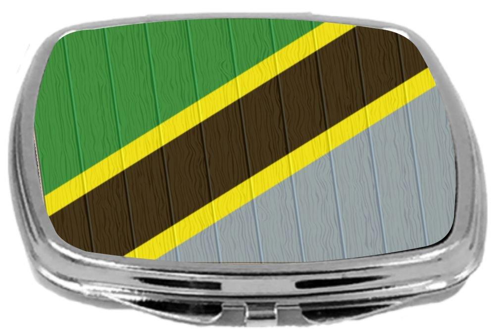 Rikki Knight Compact Mirror on Distressed Wood Design, Tanzania Flag, 3 Ounce