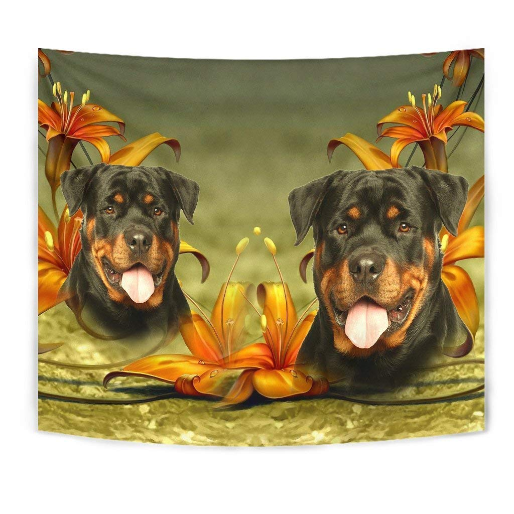 Cute Rottweiler Dog Print Tapestry by Paws With Attitude