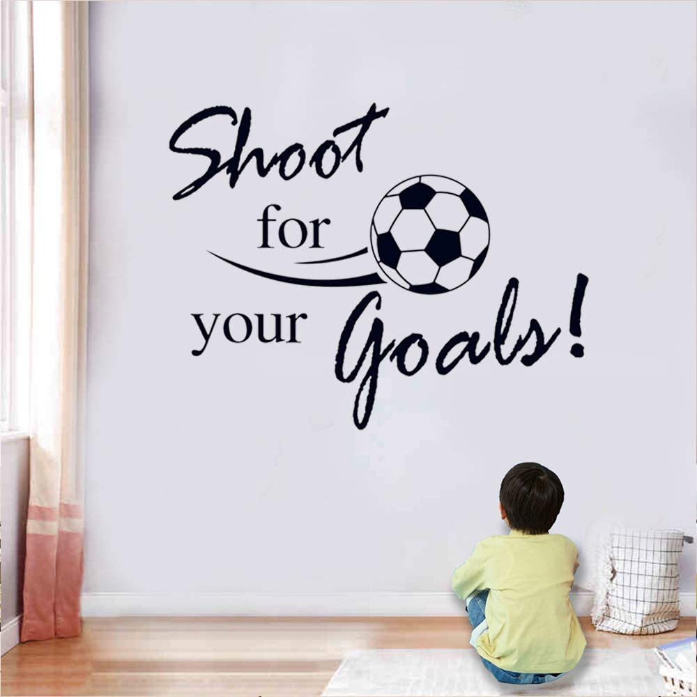 """SITAKE Soccer Stickers, """"Shoot for Your Goals"""" Wall Art Soccer Ball Stickers Decals for Kids Room, Football Vinyl Sticker for Boys Bedroom Playroom Living Room Window Door Decoration, 23.6 x 31.5 in"""