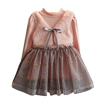 15a549ff75cf0 ワンピース ベビー服 Glennoky メッシュスカート ドレス チョッキ キレイめ ワンピース 可愛い お姫様 お嬢様 プリンセス 長袖 キッズ