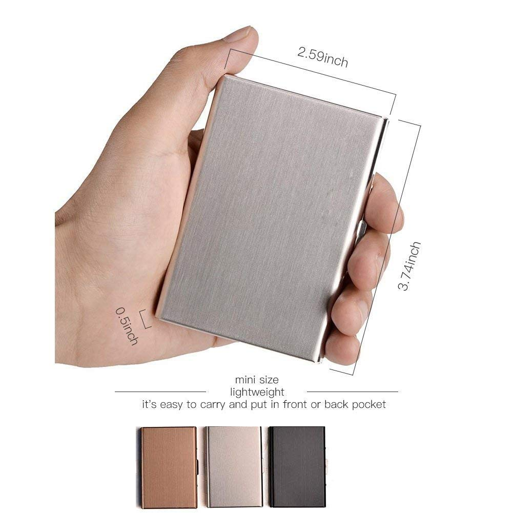 Silver Hamosky Stainless Steel RFID Credit Card Holder Credit Card Wallet Protector RFID Metal Credit Card Case for Women Men