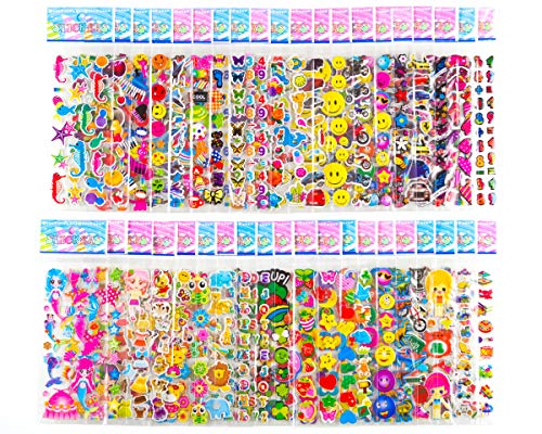 (Sticker Sheets Stickers for Kids - 40 Different Kids Bulk Stickers 1200+ Fun Stickers for Girls Boy Stickers Kids Stickers for Toddlers Puffy Stickers Assorted Scrapbook Stickers Dress Up Sticker)