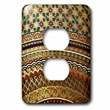 3dRose LLC 3dRose LLC lsp_155664_6 Gold-look stripe pattern with magen david stars - matte Middle Eastern arabian moroccan abstract - 2 Plug Outlet Cover