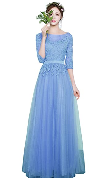 Yiweir Women Blue Three Quarter Sleeve Long Floral Dress Prom Gown Cooktail